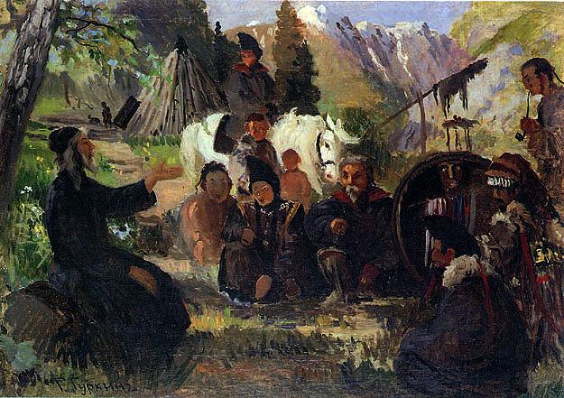 Картина Г.И.Чорос-Гуркина Проповедь миссионера