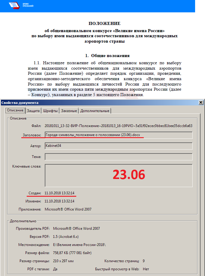 ПОЛОЖЕНИЕ об общенациональном конкурсе «Великие имена России» по выбору имен выдающихся соотечественников для международных аэропортов страны