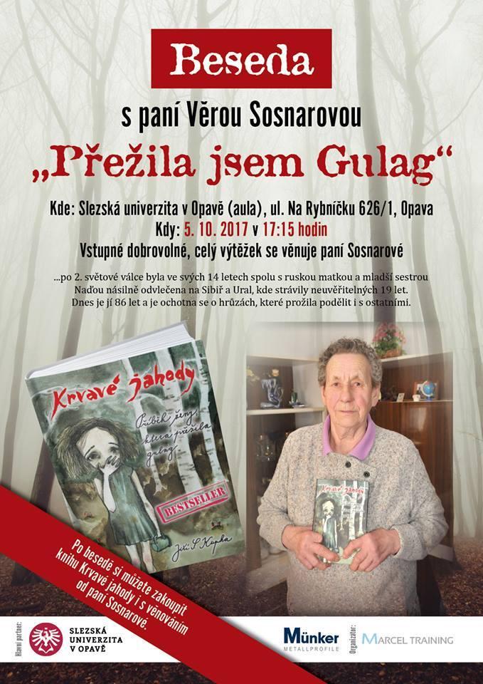 Pozvánka na besedu s Věrou Sosnarovou, která proběhne v aule na rektorátu 5. října od 17-15 hodin