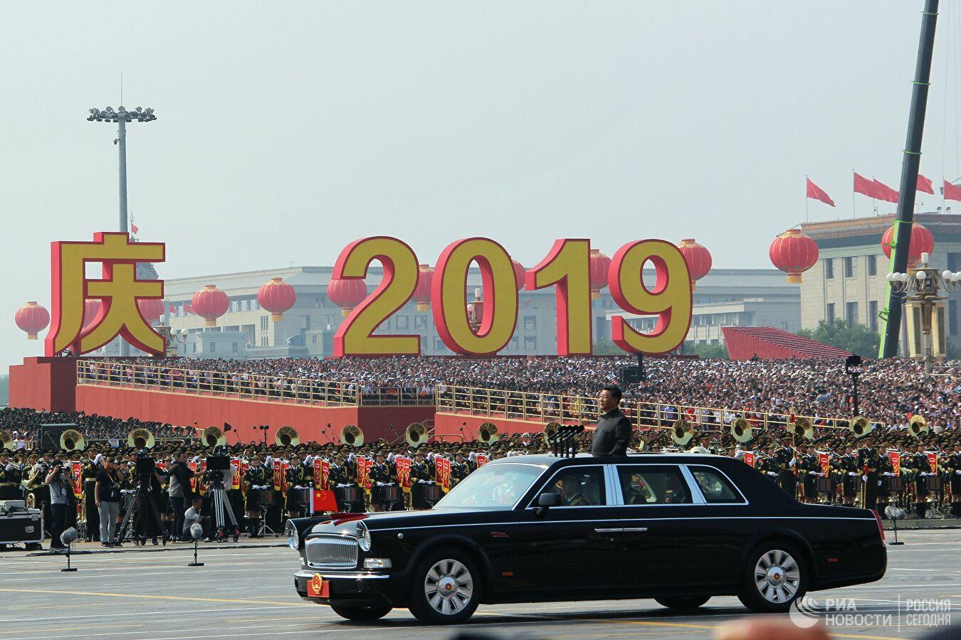Председатель Китайской Народной Республики Си Цзиньпин на военном параде, приуроченном к 70-летию образования Китая. 1 октября 2019