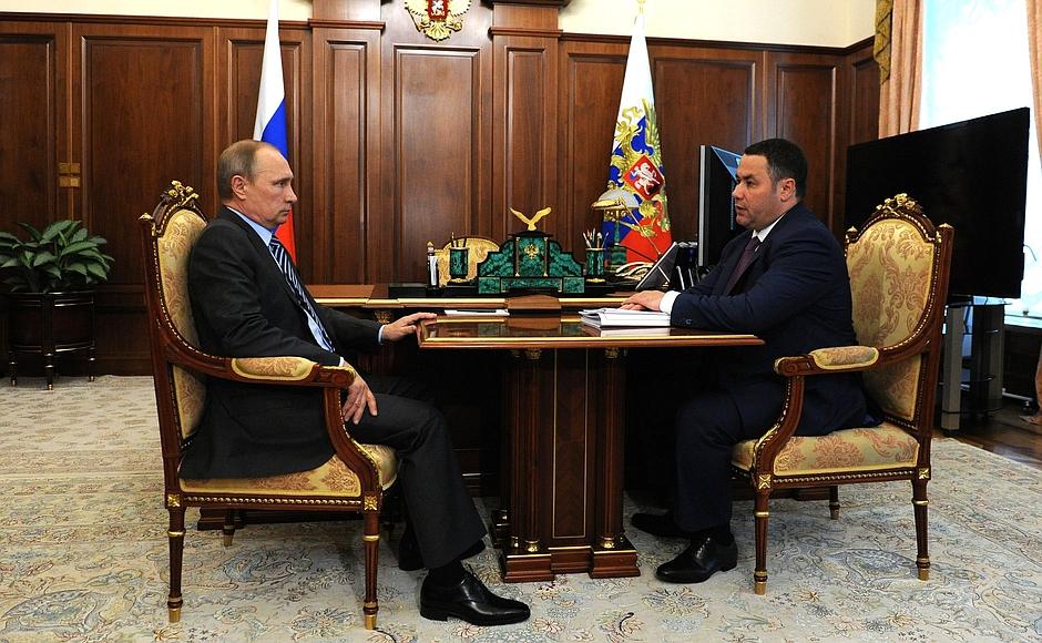 Руденя на встрече с Владимиром Путиным, Кремль, 4 июля 2016 года