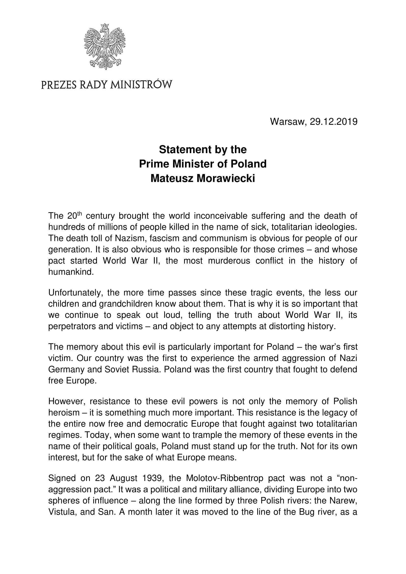 20191229-Statement by the Prime Minister of Poland Mateusz Morawiecki-scr1