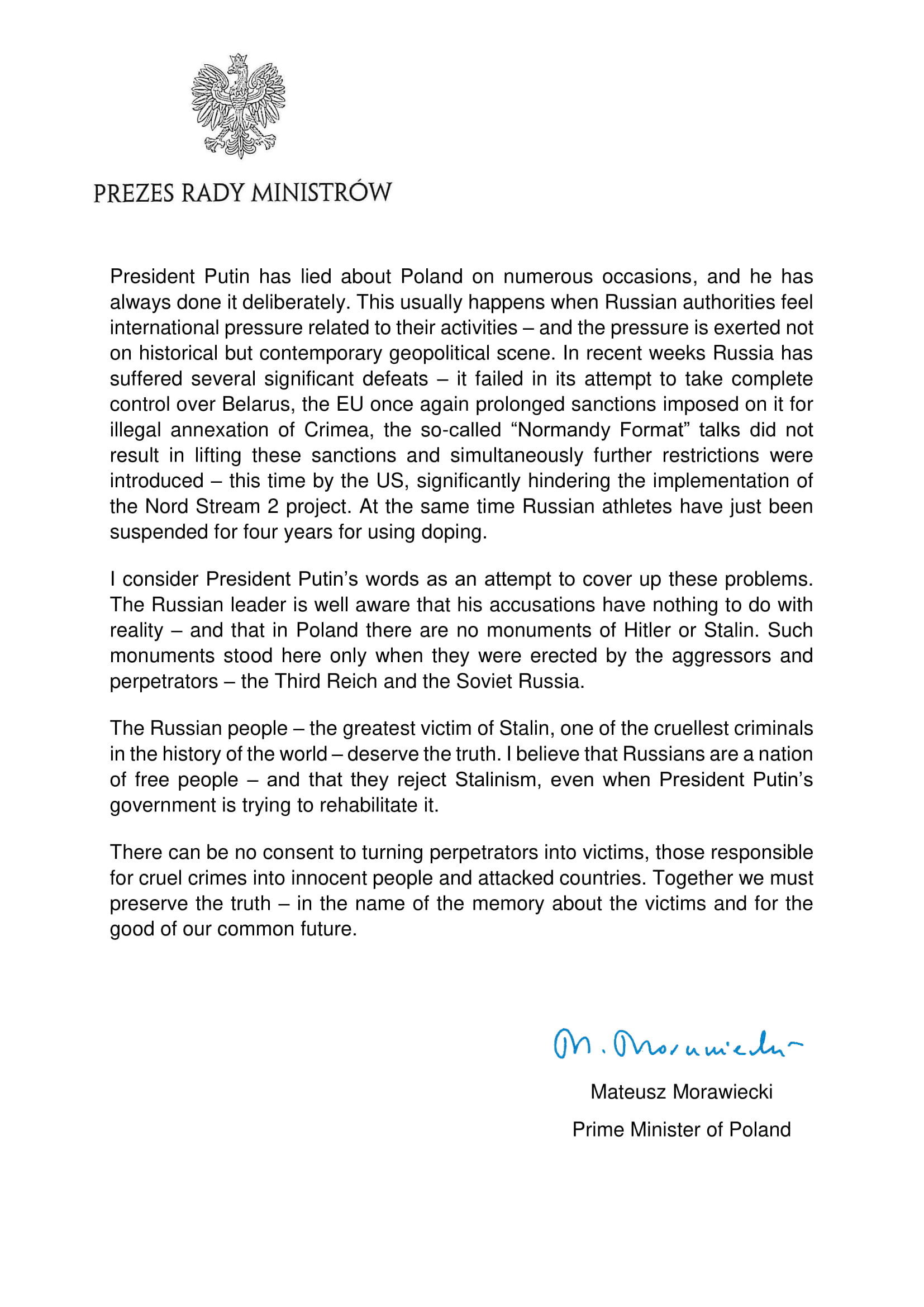 20191229-Statement by the Prime Minister of Poland Mateusz Morawiecki-scr4