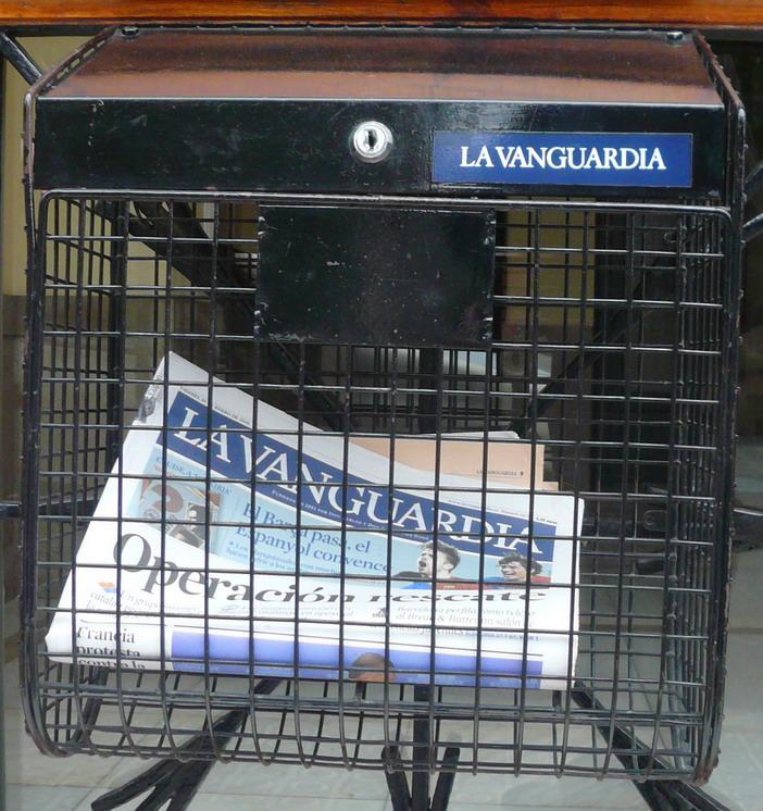Box installed by La Vanguardia, where it delivers a subscriber's newspaper, in a house in La Bonanova (Barcelona)
