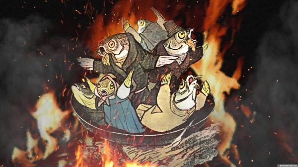 Рыбья пляска коллаж к басне Крылова с использованием иллюстрации Е. Рачеевой (С) Красная Весна