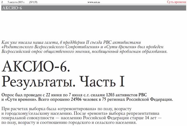 АКСИО-6. Всероссийский опрос общественного мнения, посвященный проблемам образования