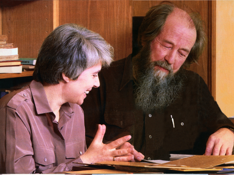 Aleksandr and Natalia Solzhenitsyn at work.~Aleksandr-Solzhenitsyn-Photo-Galleries-Vermont-8-15
