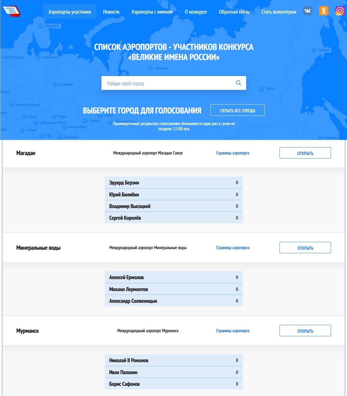 Список аэропортов - участников конкурса «Великие имена России»-pic3