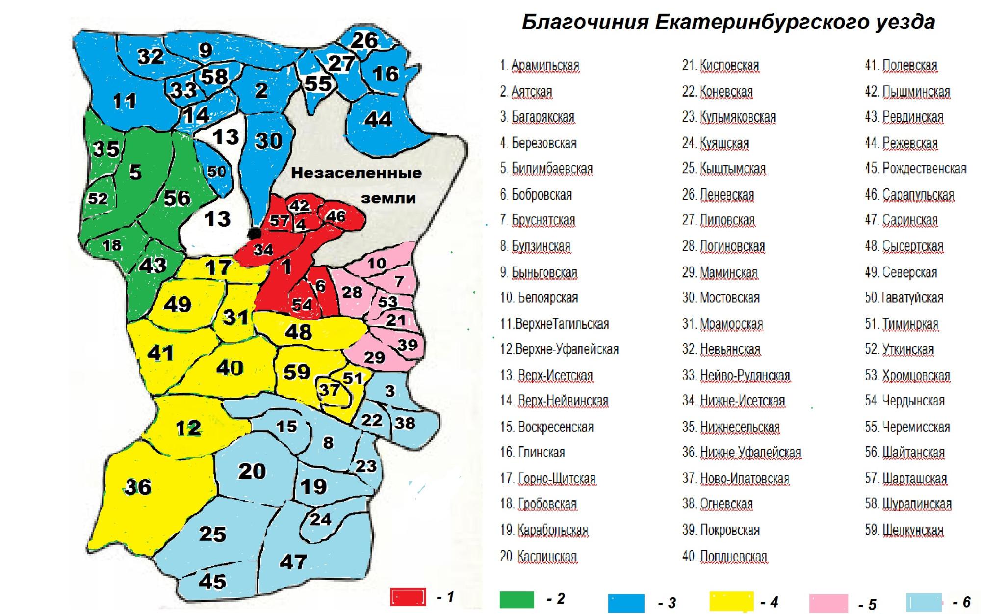 Благочинные округа. 6 округов.