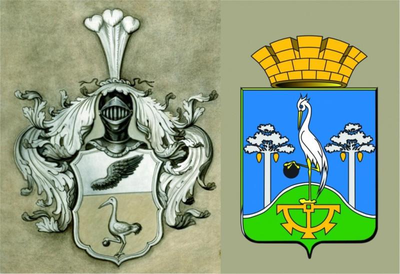 Дворянский герб Турчаниновых и герб города Сысерти
