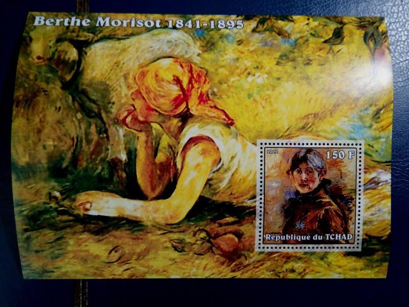Марка Берта Моризо (Berthe Morisot) Paintings (2002) од по каталогy: Mi:TD 2388, Block 339A, Тема: Изобразительное искусство | Художники. Дата выпуска: 2002-04-10 Номинал - 150 FCFA - Центральноафриканский франк КФА. На блоке «Автопортрет» Берта Моризо (1885)