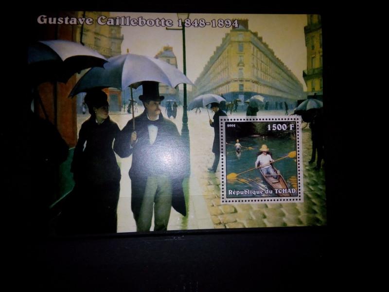 На мини листе Чад 2002 года, номиналом - 1500 франков, изображена картина «Парижская улица в дождливую погоду» Гюстава Кайботта (1877г.)