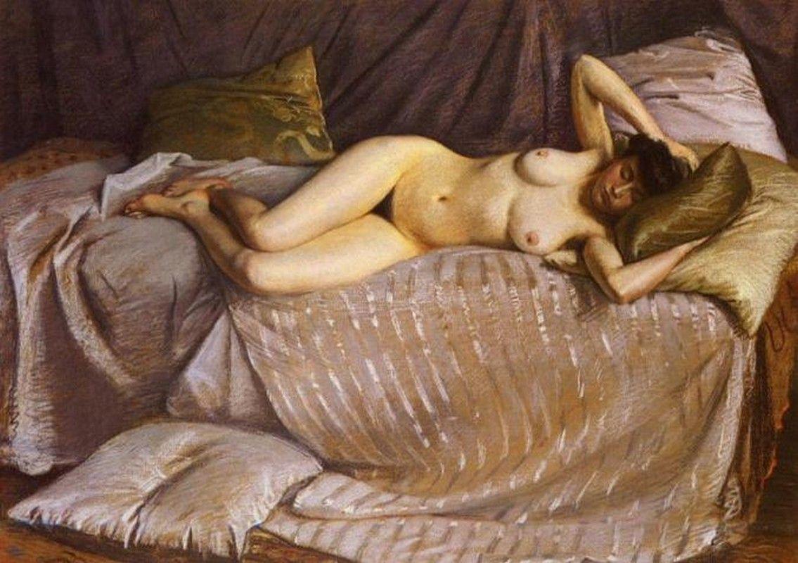 Гюстав Кайботт «Обнаженная женщина, лежащая на диване» (1873 87 x 113 см) частная коллекция