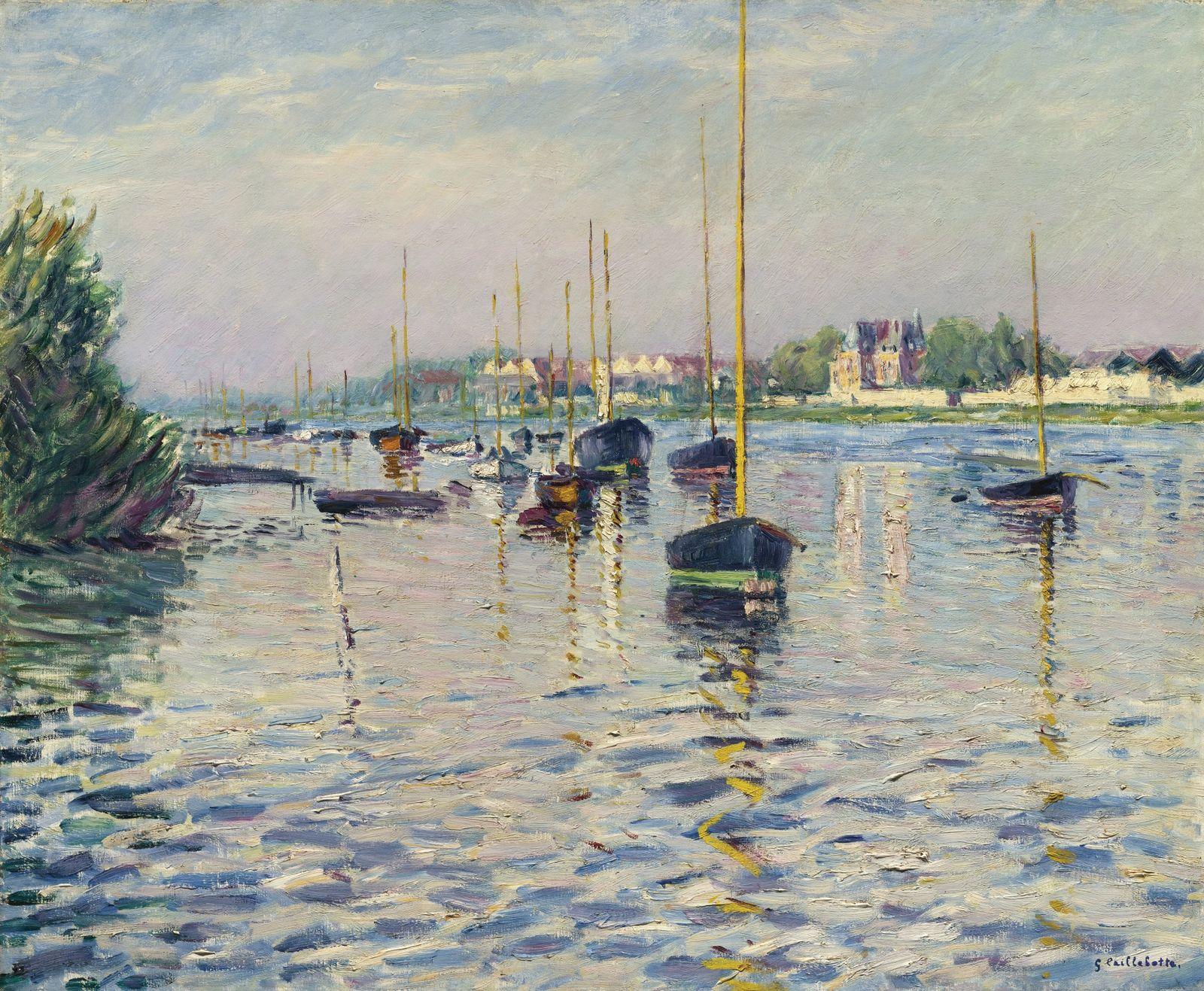 Гюстав Кайботт «Лодки на якоре на Сене в Аржантей», (1892 60 x 73.7 см ) частная коллекция
