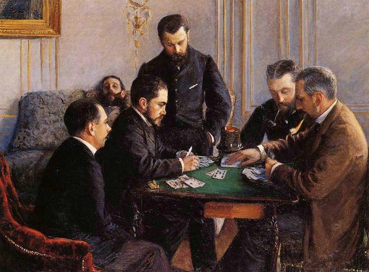 Гюстав Кайботт «Игра в безик» (1881 121 x 161 см ) Лувр Абу-Даби, Абу-Даби