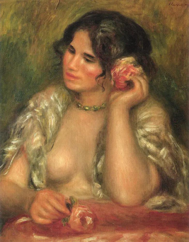 «Габриель с розой» Пьер Огюст Ренуар 1911, 55.5 × 47 см Musee d'Orsay, Париж