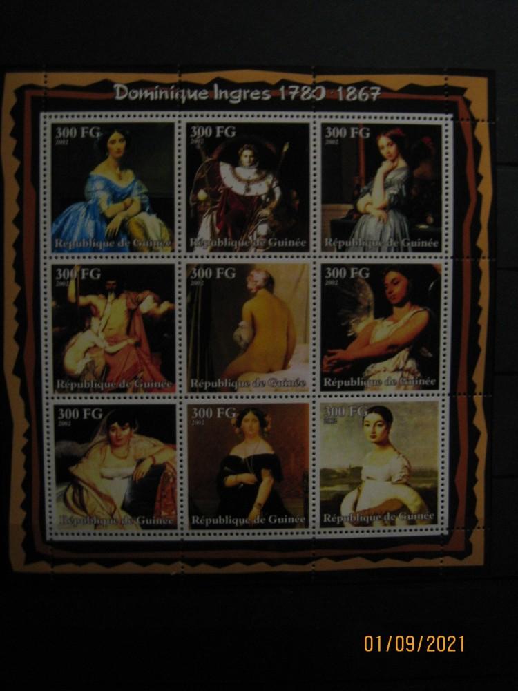 Гвинея, 2002, Серия «Живопись Жана Огюста Доминика Энгра» из 9 марок Михель №2880-2889 номиналом — 300 FG  каждая