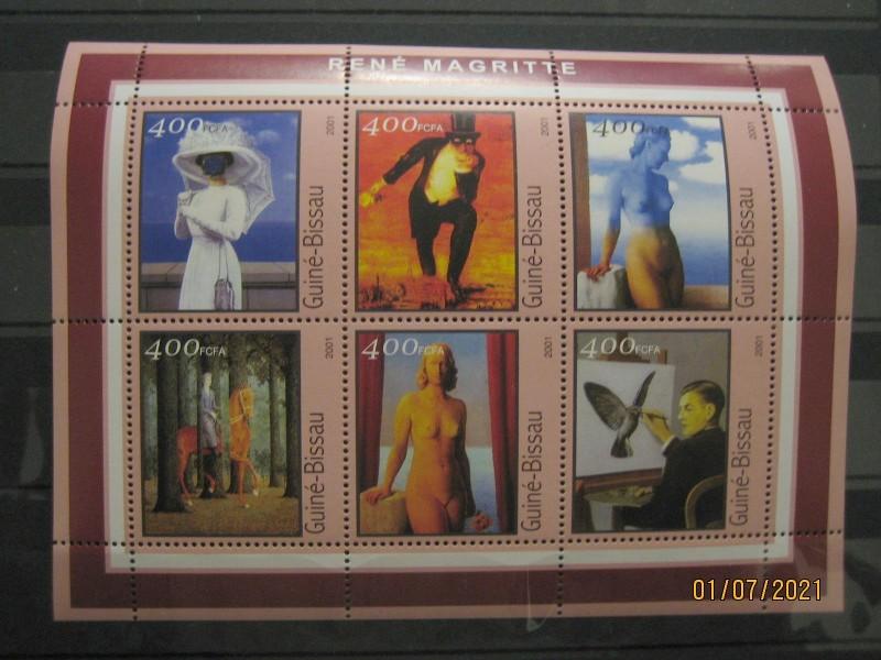 Гвинея-Бисау 2001г.,  на малом листе «Картины Рене Магритт» номинал марок — 400 fr Михель №1684-1689