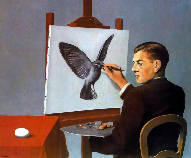 Рене Магритт «Проницательность» или «Ясновидение (Автопортрет), (1936). Масло, холст. Частная коллекция