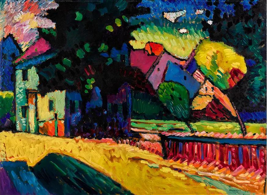 Василий Кандинский «Мурнау. Пейзаж с зелёным домом», 1909г.
