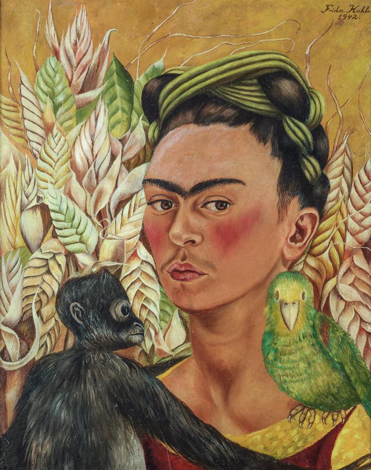 Автопортрет с обезьяной и попугаем, 1942 год. 1942Техника:  Масонит, масло.54,6 x 43,2 см Подарок: Эдуардо Ф. Костантини, 2001 г.
