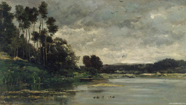 Речная отмель, 1866 ,Шарль-Франсуа Добиньи Эрмитаж, Санкт-Петербург