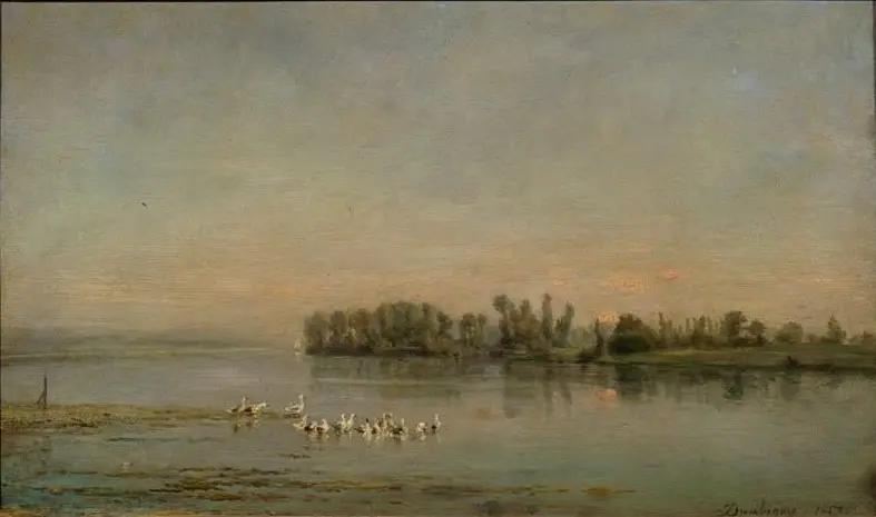 Утро Шарль-Франсуа Добиньи , 1858, 29 × 47 см Государственный музей изобразительных искусств им. А.С. Пушкина.