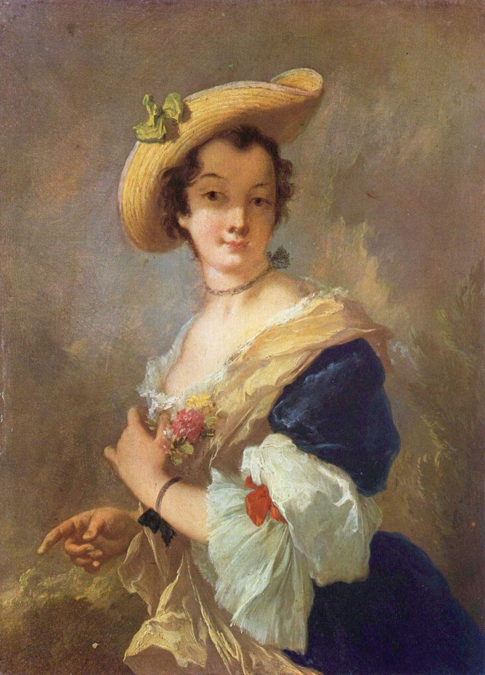 Портрет дамы в соломенной шляпе Шарль-Франсуа Добиньи