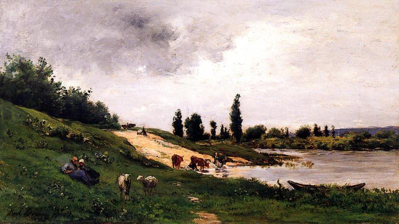 Прачка на берегу реки Шарль-Франсуа Добиньи