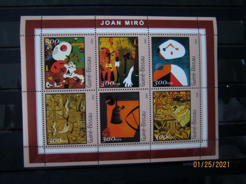 Гвинея-Бисау 2001г., Известные люди | Художники, на малом листе «Картины Жоан Миро» номинал марок — 300 fr Mi:GW 1606-1611KB