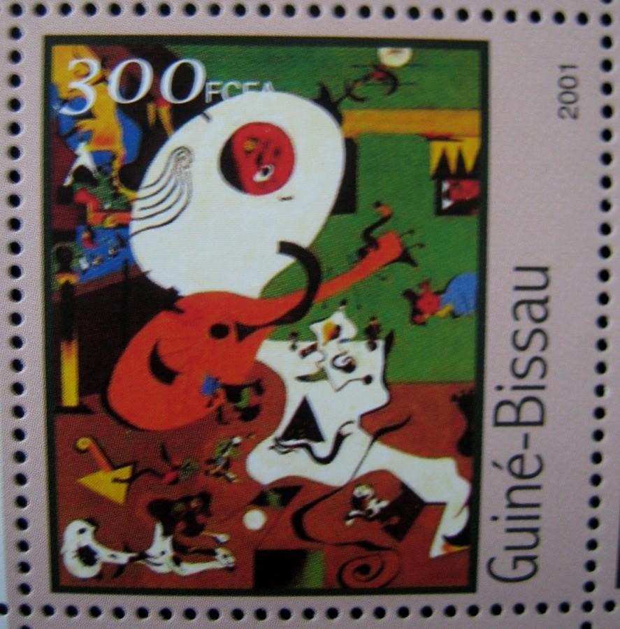 Гвинея-Бисау 2001г., на малом листе «Картины Жоан Миро» номинал марок — 300 fr Mi:GW 1606 изображена картина «Голландский интерьер I»