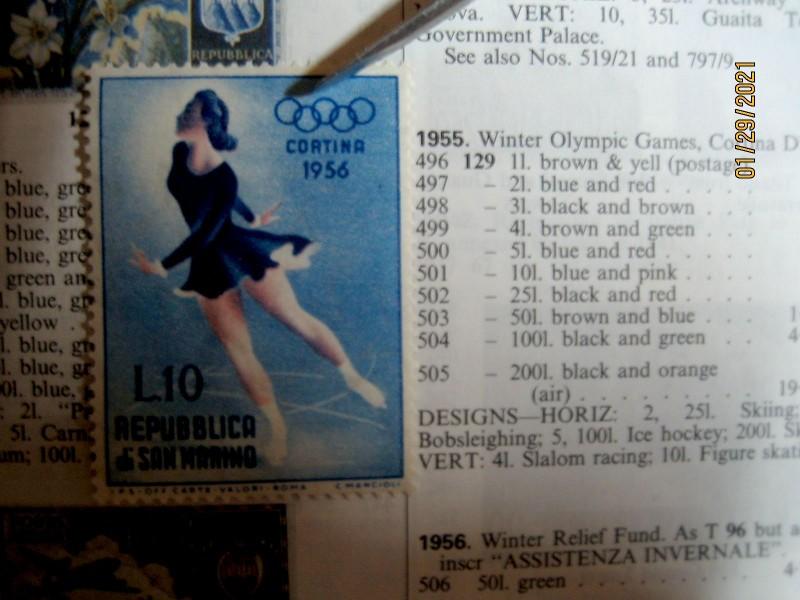 Сан-Марино 1955-12-15 марка Зимних Олимпийских игр в Кортина-д'Ампеццо «Фигурное катание» номинал — 10 ₤ Mi:SM 540, Sn:SM 369, Yt:SM 407, Sg:SM 501, AFA:SM 530, Un:SM 433
