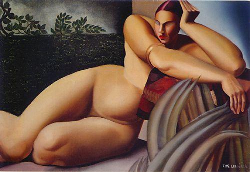 Обнаженная на террасе Тамара Лемпицка (1925).