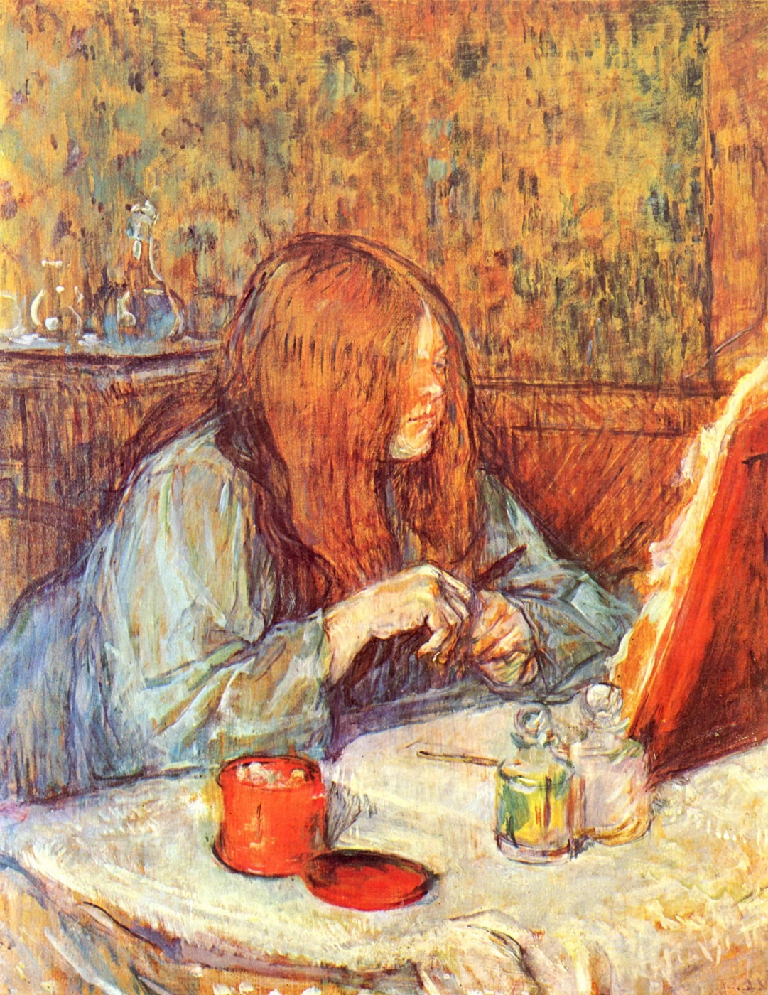 Мадам популь прихорашивается Анри де Тулуз-Лотрек Живопись, 1898, 60.8 × 49.6 см