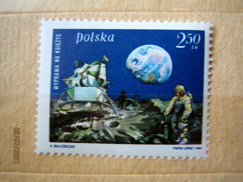 Марка Польши 1969-08-21 «Первая высадка человека на Луну» на марке посадочный модуль на Луну и Землю» Mi:PL 1940, Sn:PL 1674, Yt:PL 1790, Sg:PL 1920, AFA:PL 1817, Pol:PL 1793 номинал — 2.50 zł