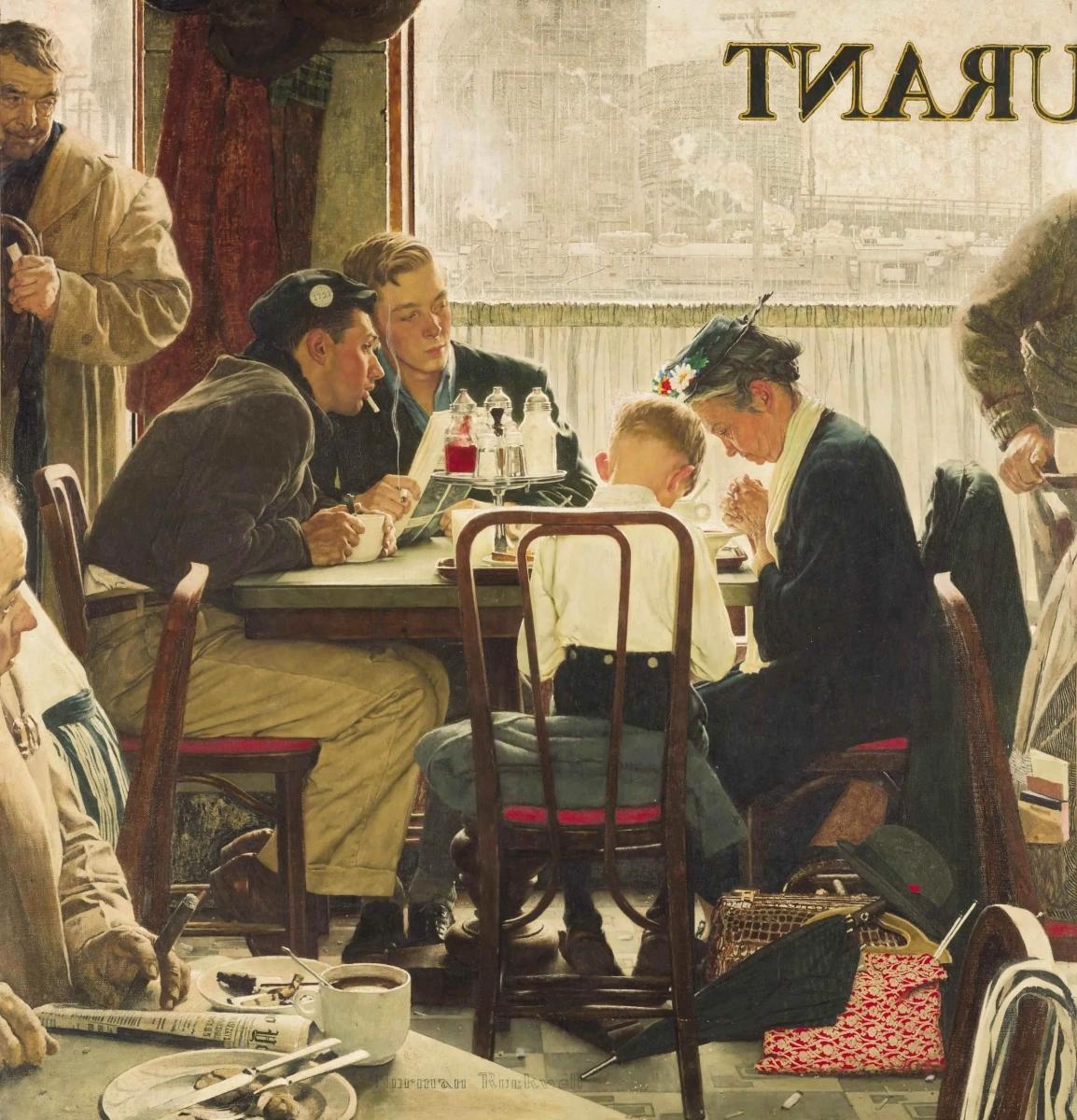 Говоря Грейс Норман Роквелл Живопись, 1951, 102 × 107 см