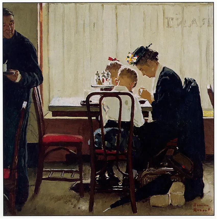 Питьевая молитва Норман Роквелл Живопись, 1950-е