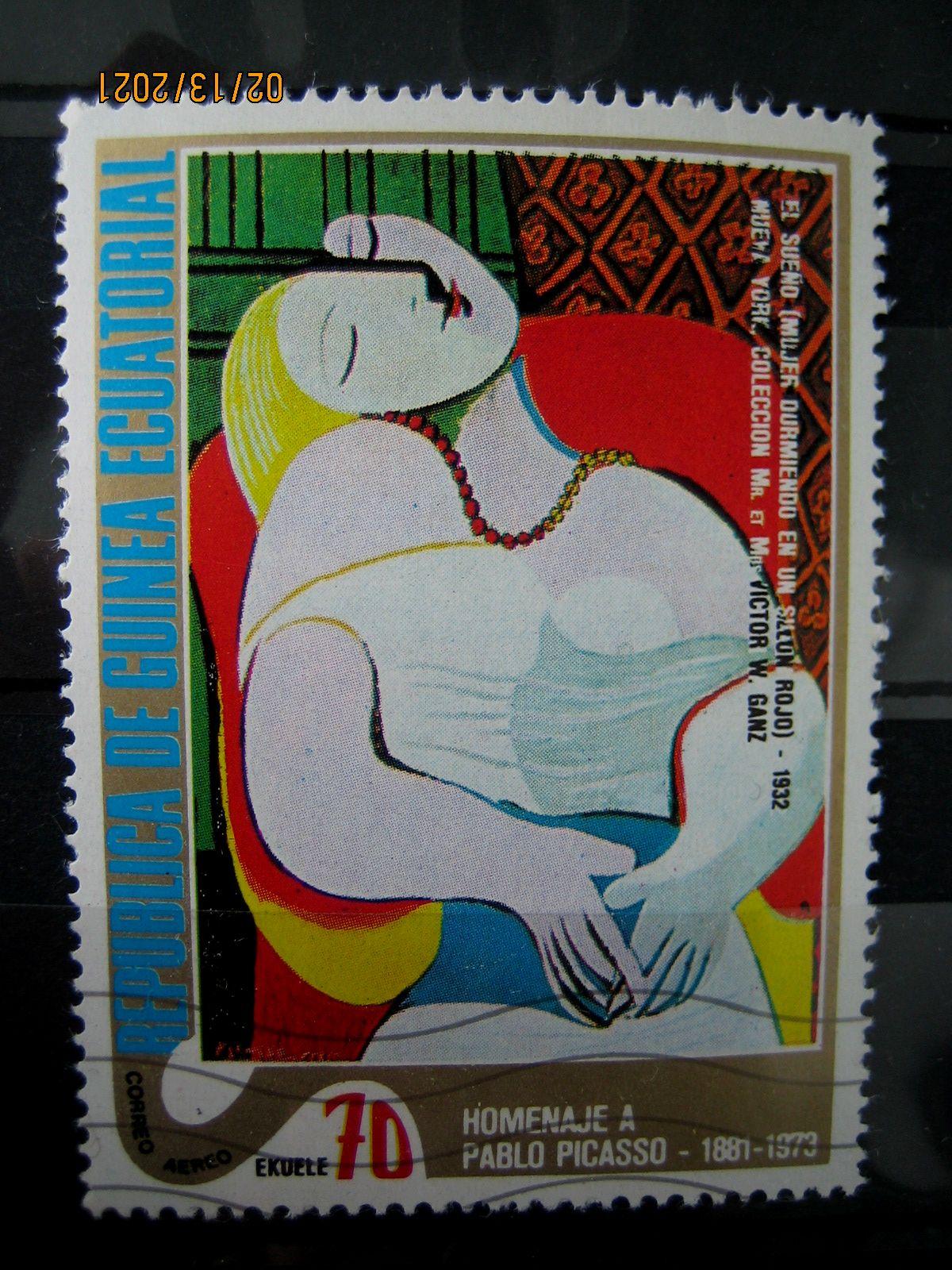 "Марка Экваториальная Гвинея, 27 января 1975, посвященная памяти Пабло Пикассо на марке картина — ""Сон"", Mi:GQ 520, Sn:GQ 75-07, Yt:GQ PA41-B, номинал — 70 Equatorial Guinean ekuele"