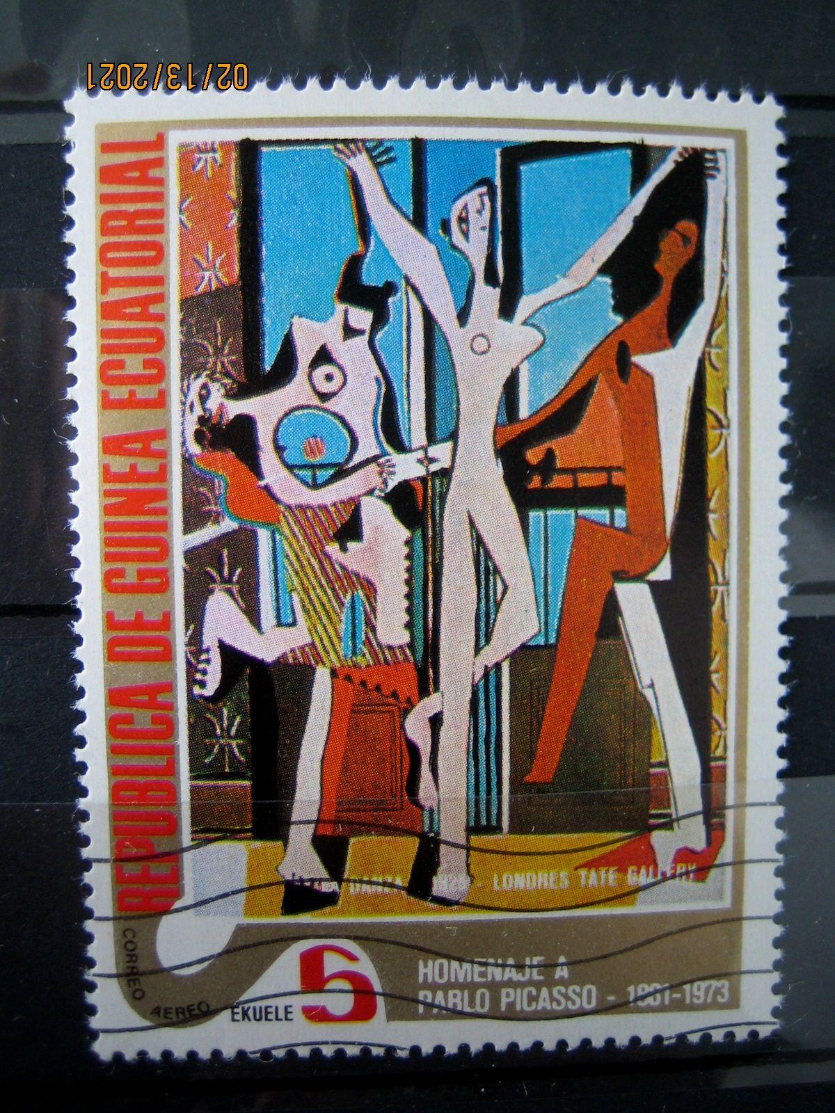 Марка Экваториальная Гвинея, 27 января 1975, посвященная памяти Пабло Пикассо на марке картина — «Алжирские женщины, версия О (15)», Mi:GQ 519, Sn:GQ 75-06, Yt:GQ PA41-A, номинал — 5 Equatorial Guinean ekuele