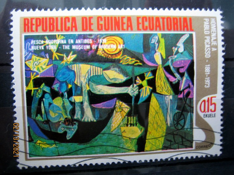 """Марка Экваториальная Гвинея, 27 января 1975, посвященная памяти Пабло Пикассо на марке картина — """"Ночной рыбак с Антиба"""", Mi:GQ 516, Sn:GQ 75-03, Yt:GQ 56-C, номинал — 0.15 Equatorial Guinean peseta"""