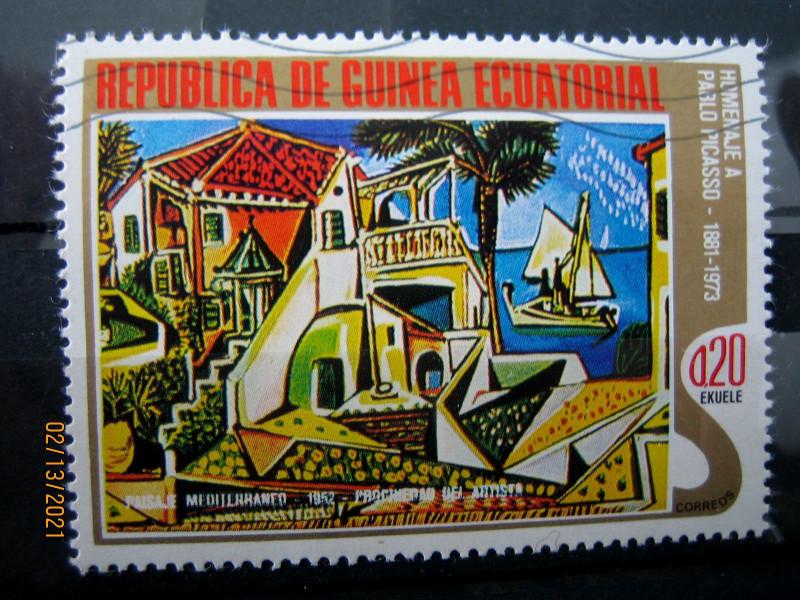 """Марка Экваториальная Гвинея, 27 января 1975, посвященная памяти Пабло Пикассо на марке картина — """"Средиземноморский пейзаж"""", Mi:GQ 517, Sn:GQ 75-04, Yt:GQ 56-D, номинал — 0.20 Equatorial Guinean peseta"""