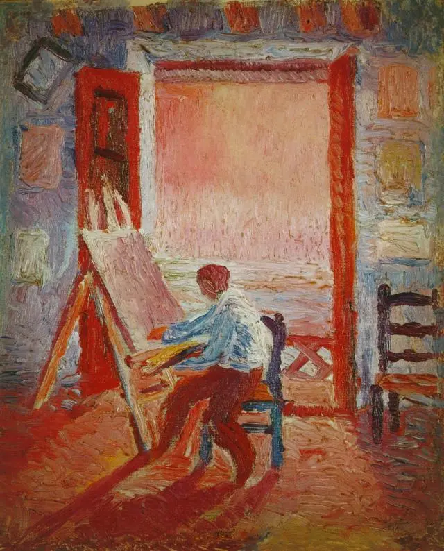 Автопортрет в студии Сальвадор Дали Живопись, 1919, 25 × 20 см Музей Сальвадора Дали, Санкт-Петербург
