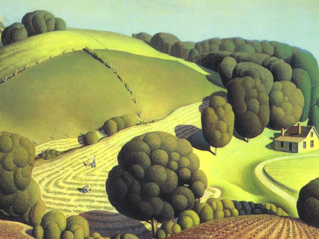 Рис. 1 Грант Вуд, «Молодая кукуруза», 1931 г.,