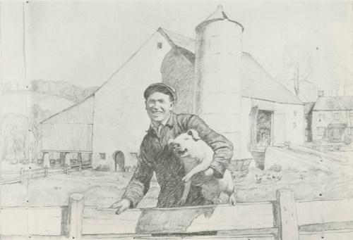 Предварительное исследование для портрета фермера (фермер из Пенсильвании), Музей реки Брендивайн, Чаддс Форд, Пенсильвания