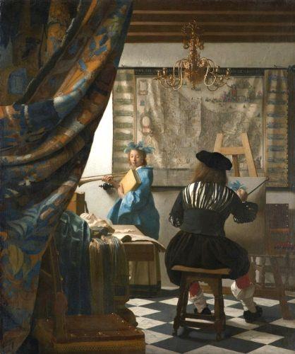 Иоганнес Вермеер, Мастерская художника, около 1665–1666 гг., Холст, масло, 51 на 43 дюйма. Художественно-исторический музей, Вена, Австрия / Bridgeman Images.