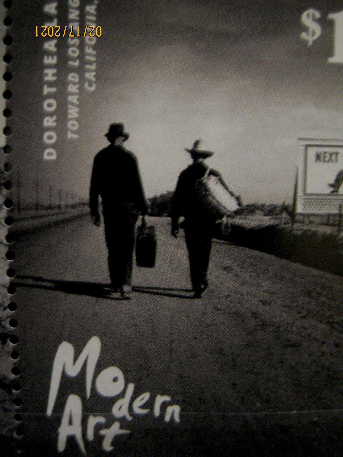 марка Палау 2014-01-02, Современная фотография, Mi:PW 3430, «К Лос-Анджелесу» (1937), Доротея Ланж, номинал — 1.50 $