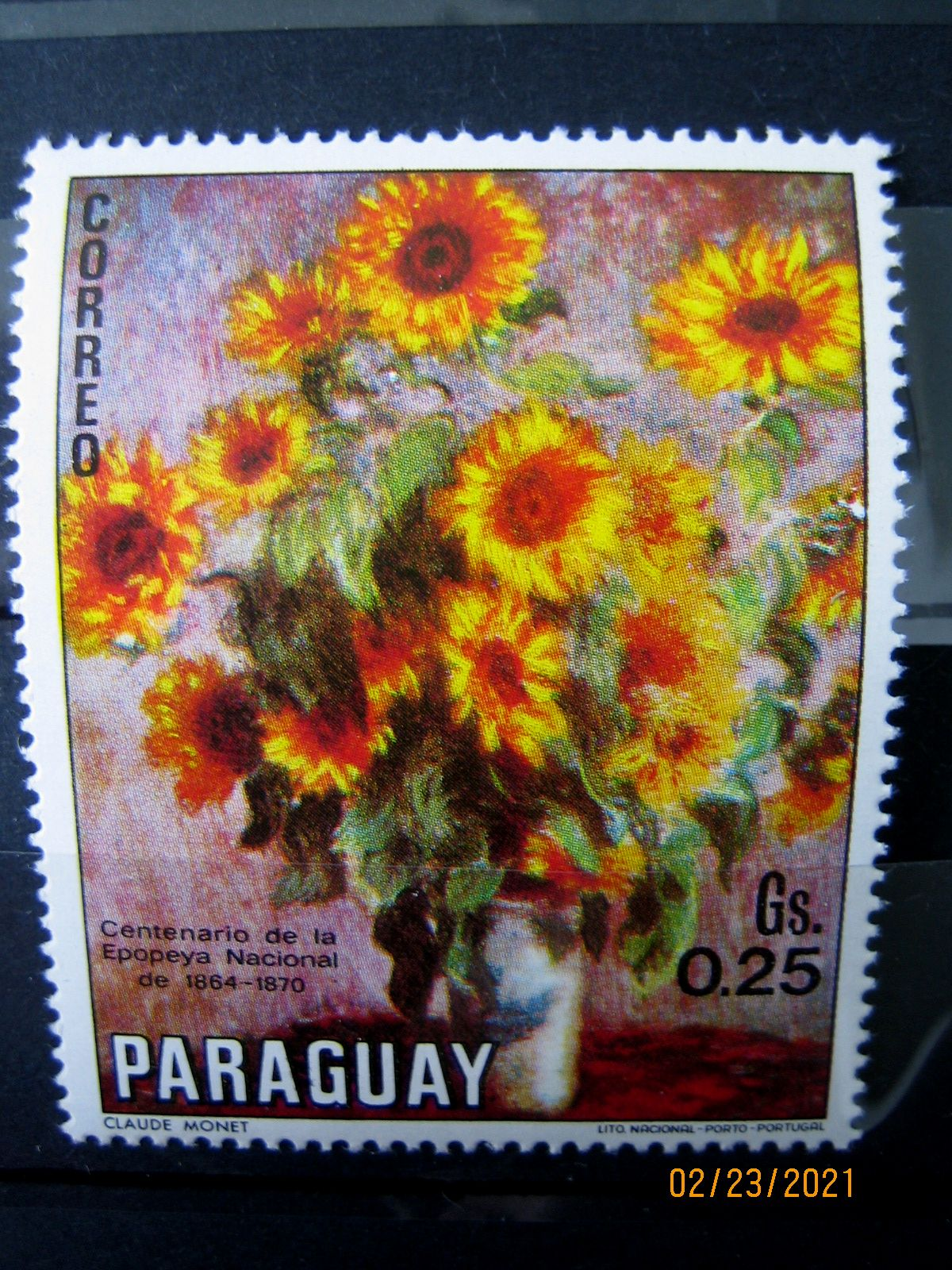 Марка Парагвай, 1970 г. Флора, 100-летие национального эпоса 1864-1870, на марке представлена Цветочная композиция; по Моне, Mi:PY 2095, Sn:PY 1299d, Yt:PY 1092, номинал — 0.25 Gs (гурани)