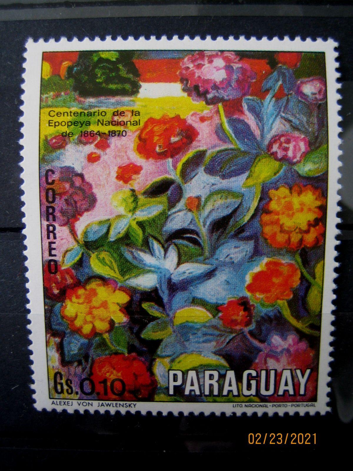Марка Парагвай, 1970 г. Флора, 100-летие национального эпоса 1864-1870, на марке представлена Цветочная композиция; Алексей фон Явленский, Mi:PY 2092, Sn:PY 1299a, Yt:PY 1089, номинал — 0.10 Gs (гурани)