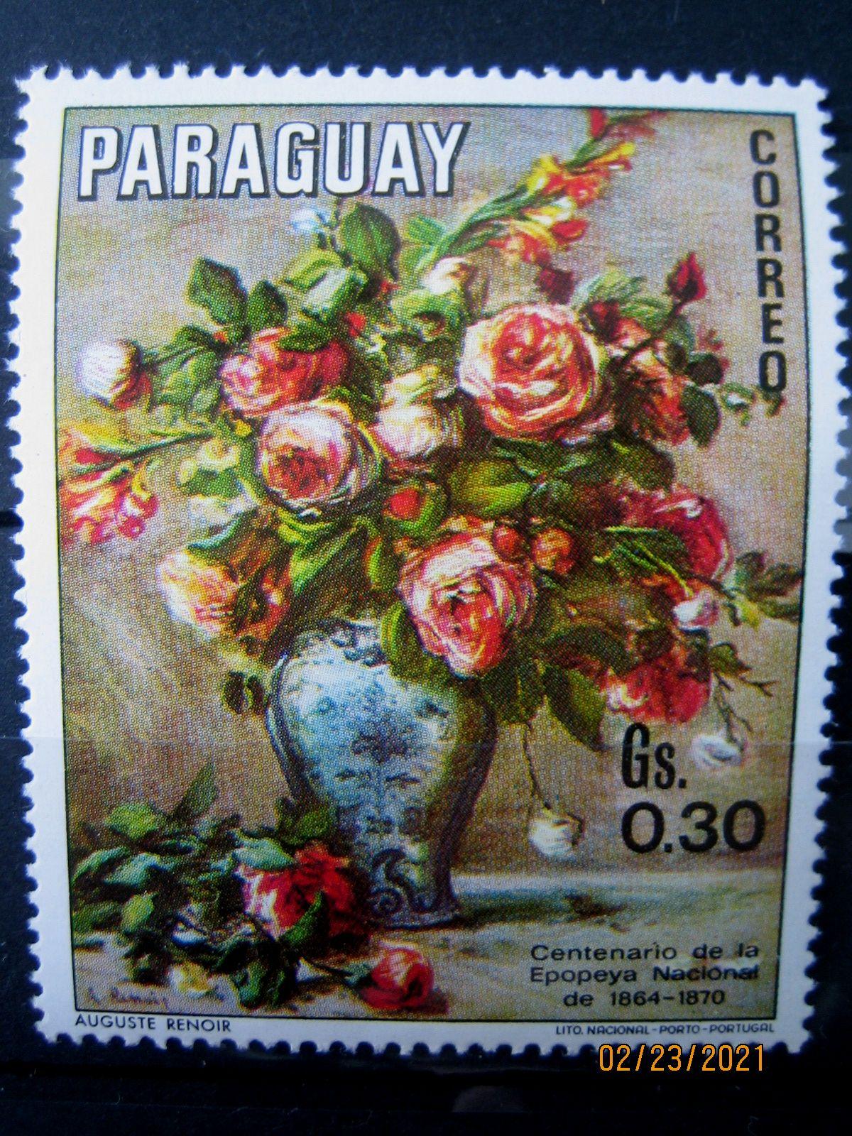 Марка Парагвай, 1970 г. Флора, 100-летие национального эпоса 1864-1870, на марке представлена Цветочная композиция; Ренуар, Mi:PY 2096, Sn:PY 1299e, Yt:PY 1093, номинал — 0.30 Gs (гурани)