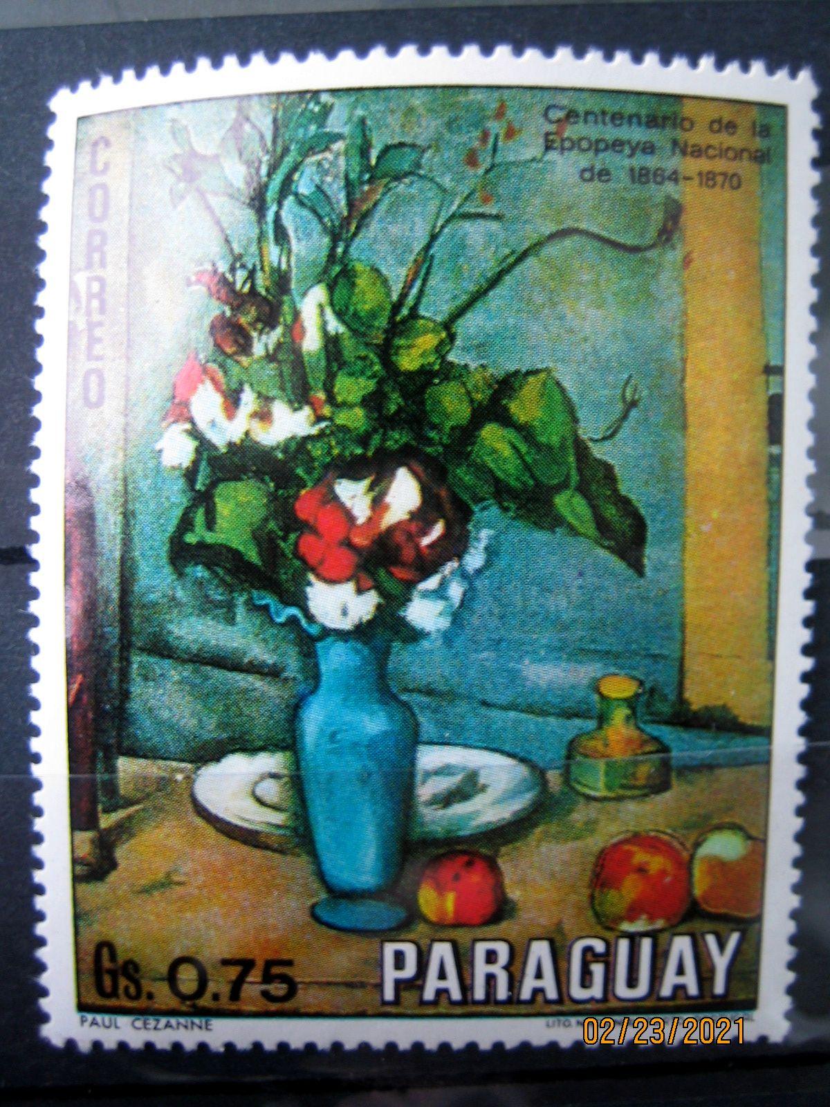 Марка Парагвай, 1970 г. Флора, 100-летие национального эпоса 1864-1870, на марке представлена Цветочная композиция Сезанна; Mi:PY 2098, Sn:PY 1301, Yt:PY 1095, номинал — 0.75 Gs (гурани)